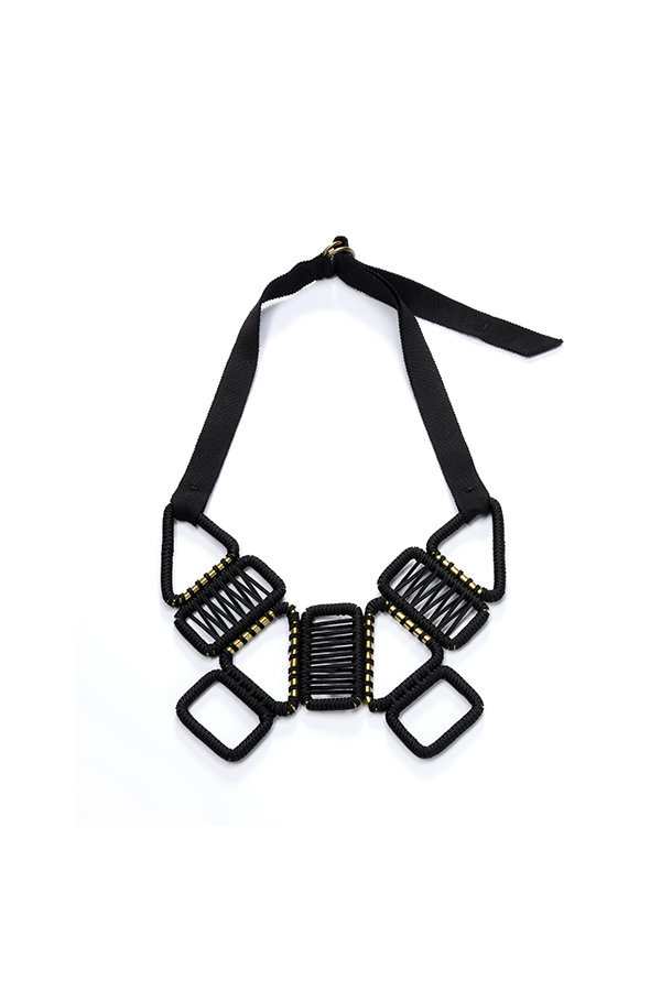 statement woven geometrical necklace