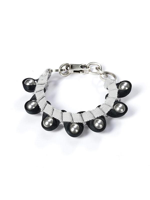 textile braided bracelet embroidered swarovski beads