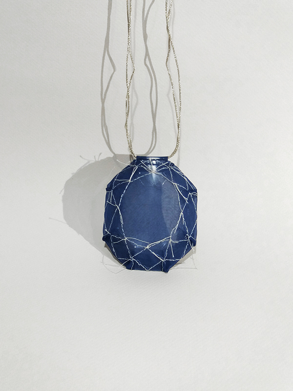 contemporary jewellery textile embroidered pendant necklace