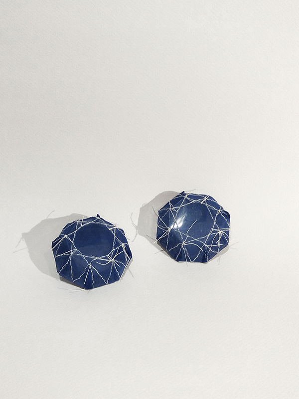 contemporary jewelry embroidered textile earrings