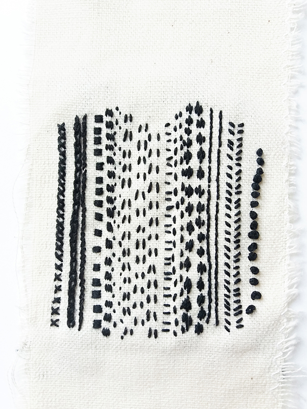 contemporary embroidery workshops Marseille sampler