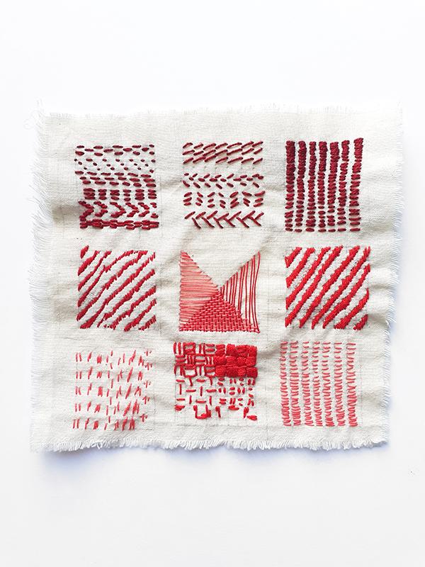 contemporary embroidery study piece straight stitch