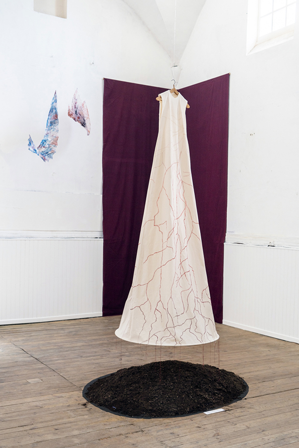 contemporary embroidery installation oversize dress full