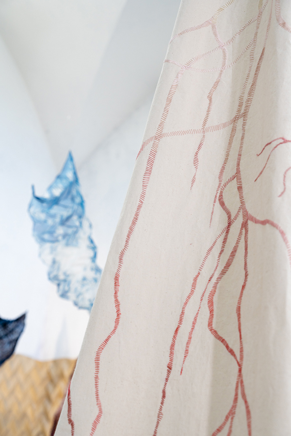contemporary embroidery installation dress stitches detail left atelier olgajeanne