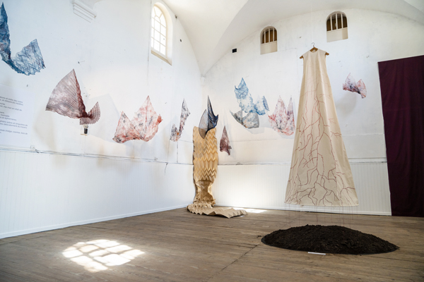 collective textile installation hand embroidery pleats