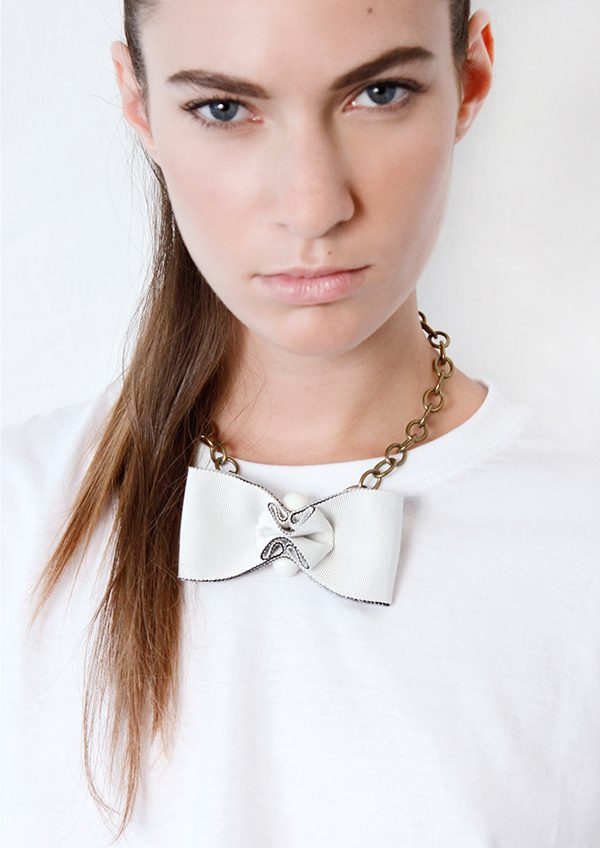 grosgrain bowtie necklace swarovski beads